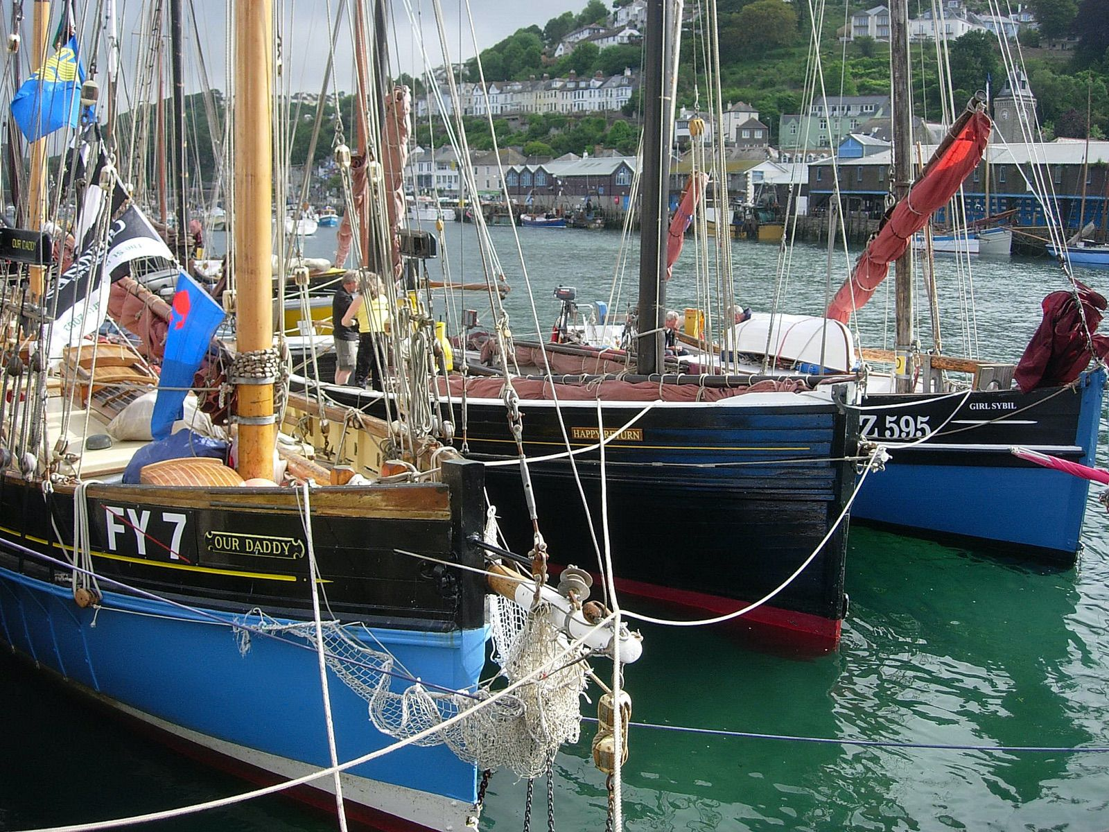 Cornish Lugger Our Daddy in Looe at Lugger Regatta