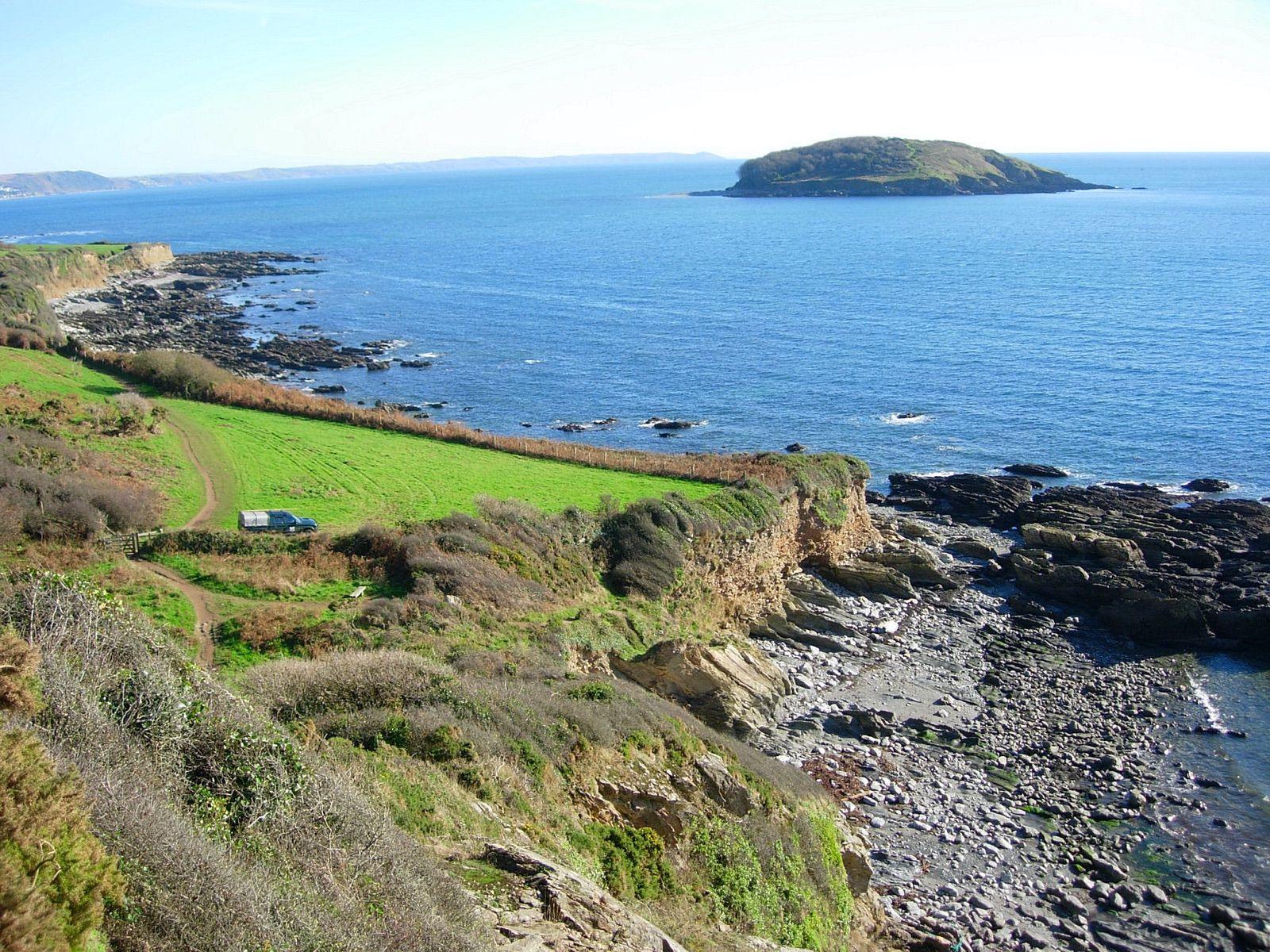 Looe to Polperro Walk - view Looe Island from South West Coast Path