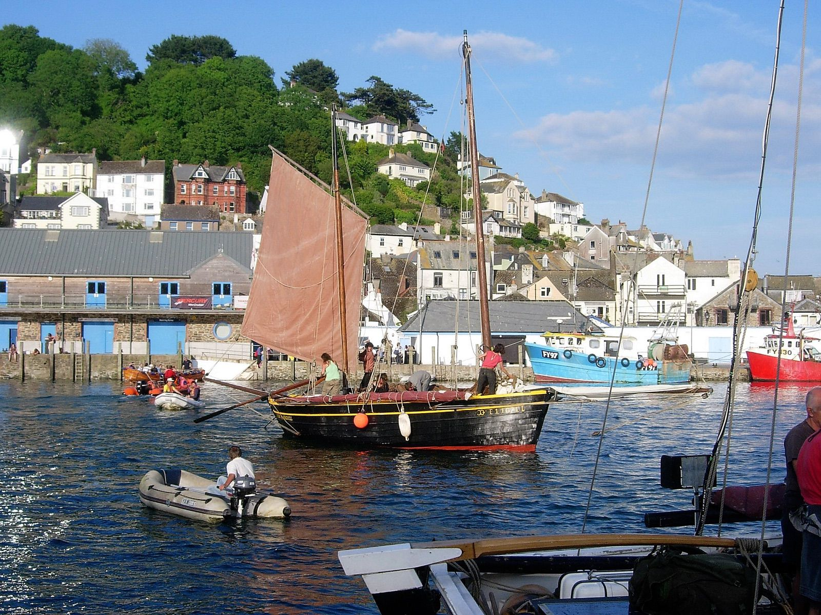 Traditional Cornish lugger sailing vessel on Looe River