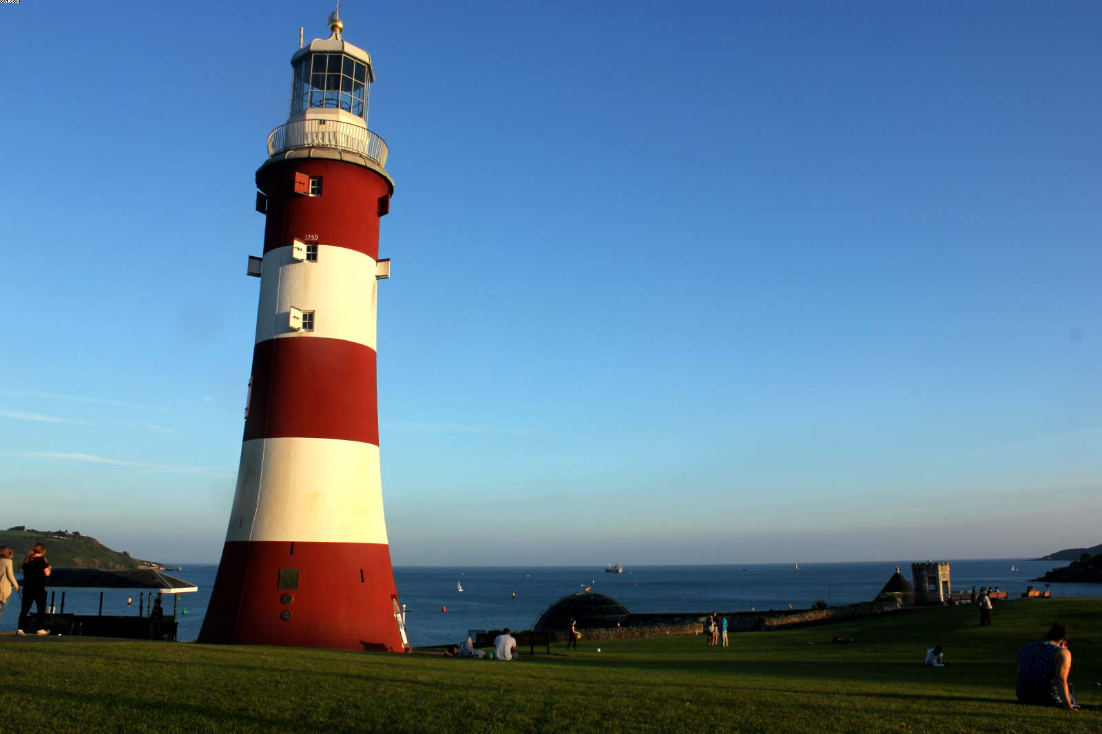 Smeatons Lighthouse on Plymouth Hoe overlooking Plymouth Sound