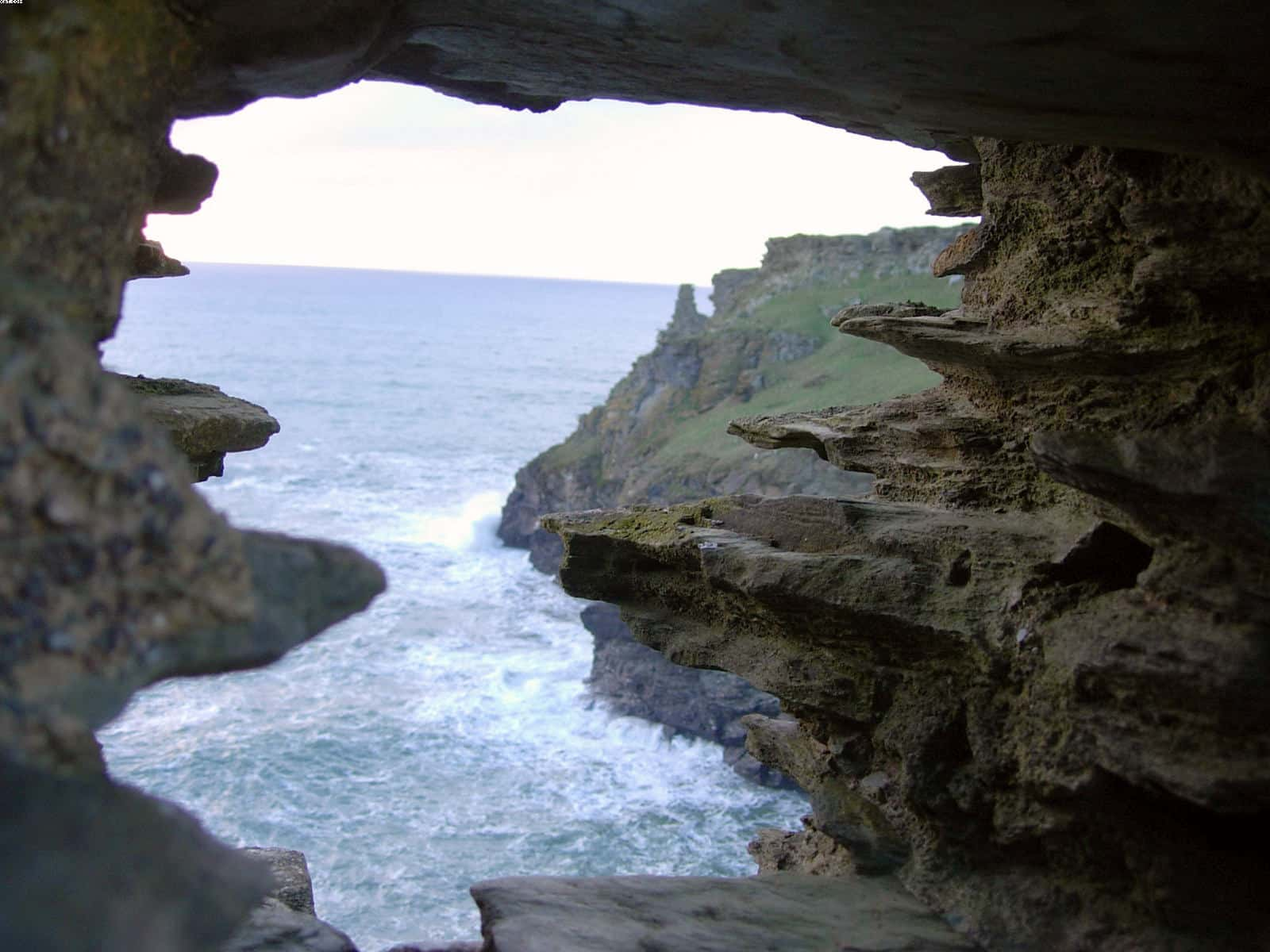 View of sea and cliffs from Tintagel Castle on a day out from Looe