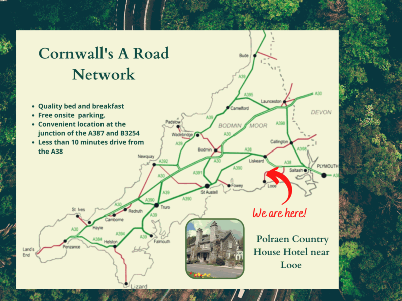 Roadmap showing Cornwall A road network